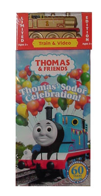 Golden Thomas Engine and Thomas' Sodor Celebration VHS Video Tape